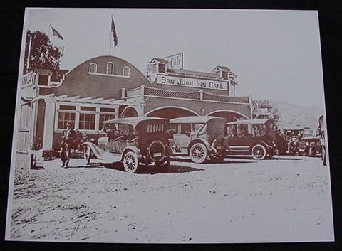 Vintage Automobiles San Juan Inn Cafe Vintage Sepia Card Stock Photo 1930s