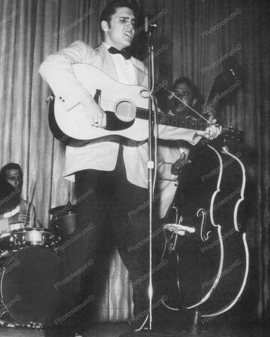 Elvis Performing With His Band Vintage 8x10 Reprint Of Old Photo