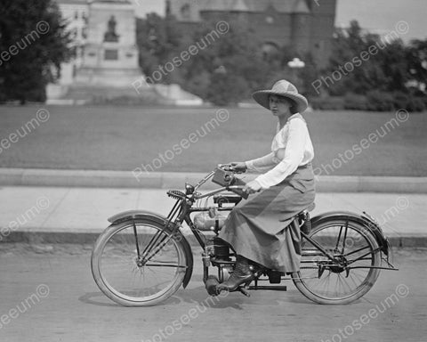 Young Woman On Motorbike Vintage 8x10 Reprint Of Old Photo