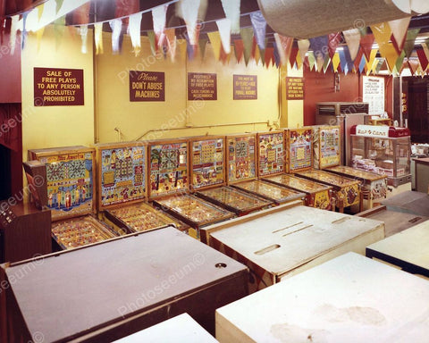 Bingo Pinball Machines in Arcade Vintage 1960's 8x10 Reprint Old Photo