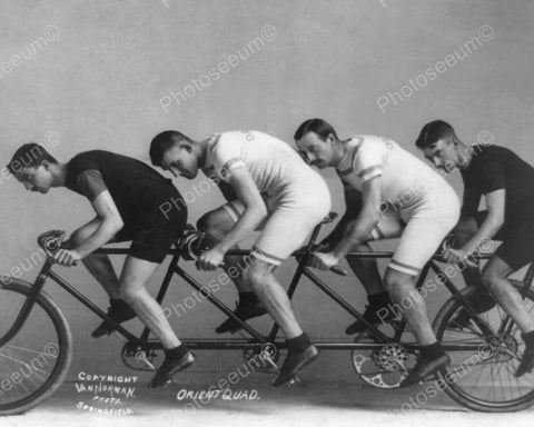 Bike Racers On Quad 4 Seat Bicycle 8x10 Reprint Of Old Photo - Photoseeum