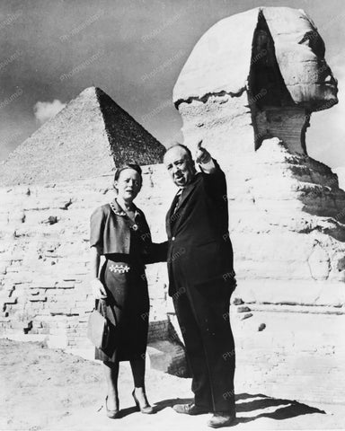 Alfred Hitchcock With His Wife 1950s 8x10 Reprint Of Old Photo