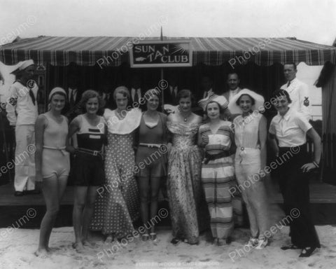 """Sun Tan Club"" Women Group Pose Vintage 8x10 Reprint Of Old Photo"