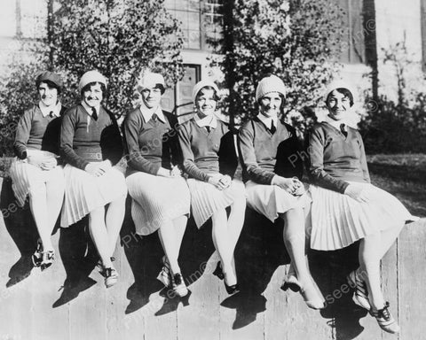 Happy Cheerleaders Vintage Early 1900s 8x10 Reprint Of Old Photo - Photoseeum