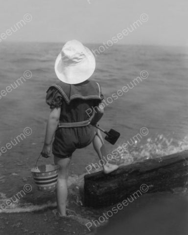 Child In Sailor Suit  At Seashore 1920s 8x10 Reprint Of Old Photo