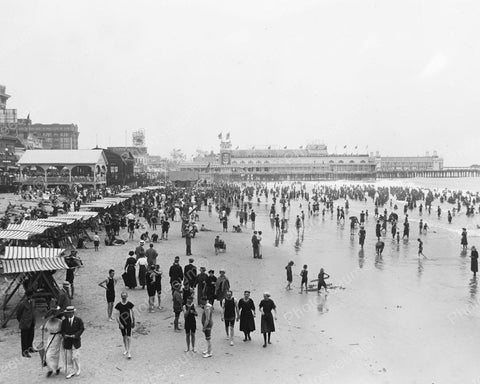 Bathers Enjoying Atlantic City Beach 1920 Vintage 8x10 Reprint Of Old Photo 2