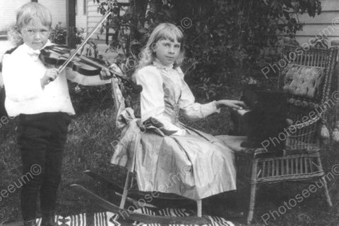 Young Boy & Girl Play Violin & Piano Old 4x6 Reprint Of Photo