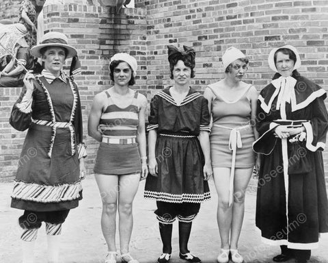 Women Pose In Evolution Of Bathing Suits 8x10 Reprint Of Old Photo