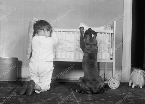 Adorable Child & Dog Pray At Baby Cradle 8x10 Reprint Of Old Photo - Photoseeum