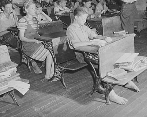Barefoot Students Vintage School Desk 8x10 Reprint Of Old Photo - Photoseeum