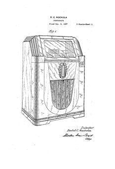 USA Patent Rockola Jukebox 1930's Monarch Drawings