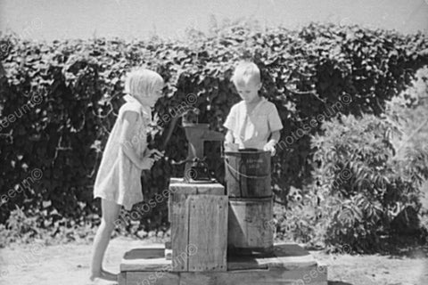 Young Boy & Girl At Vintage Well 1900s 4x6 Reprint Of Old Photo