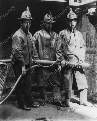 Firemen Wear Vintage Smoke Masks 8x10 Reprint Of Old Photo