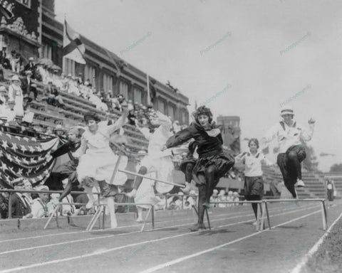 Women Athletes Compete Low Hurdle Race 1920s Vintage 8x10 Reprint Of Old Photo