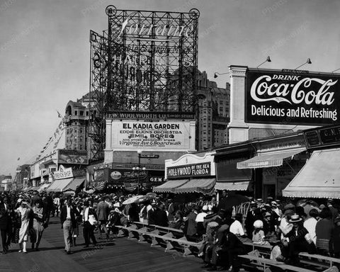 Atlantic City Boardwalk Coca Cola Sign Vintage 1920s 8x10 Reprint Of Old Photo