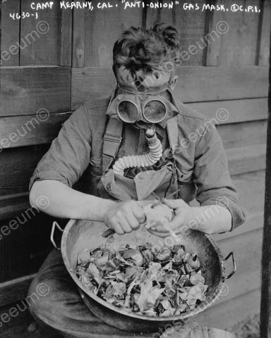 Anti Onion Gas Mask At Work 8x10 Reprint Of Old Photo