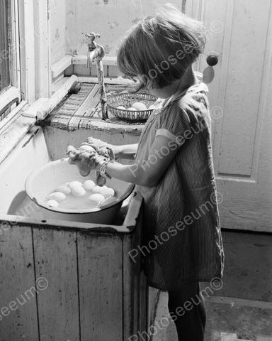 Adorable Tiny Girl Tot Washes Eggs 1900s 8x10 Reprint Of Old Photo - Photoseeum