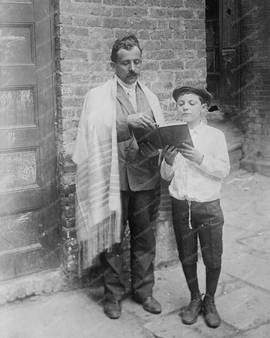 Jewish Man And Boy Read Bible Vintage 8x10 Reprint Of Old Photo