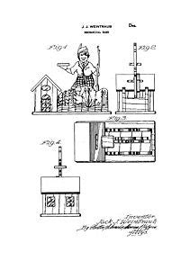 USA Patent Weintraub Mechanincal Bank 1940's Drawings