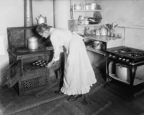 Woman Baking Muffins With Old Stove 1930's Vintage 8x10 Reprint Of Old Photo