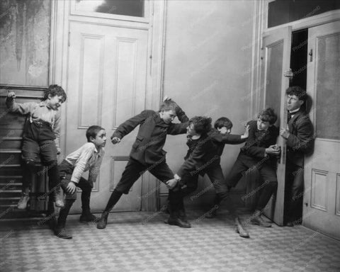 Victorian Boys Push Door Against Teacher 8x10 Reprint Of Old Photo
