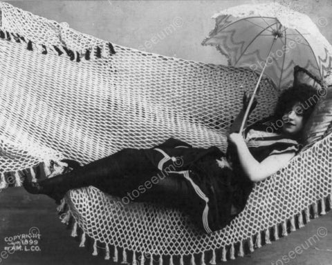 Victorian Girl Sexy In Hammock W Parasol 8x10 Reprint Of Old Photo