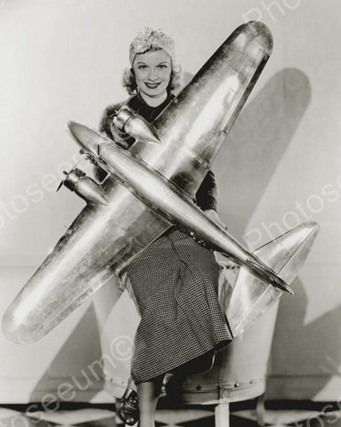 Girl Holding Giant Prop Airplane Vintage 8x10 Reprint Of Old Photo