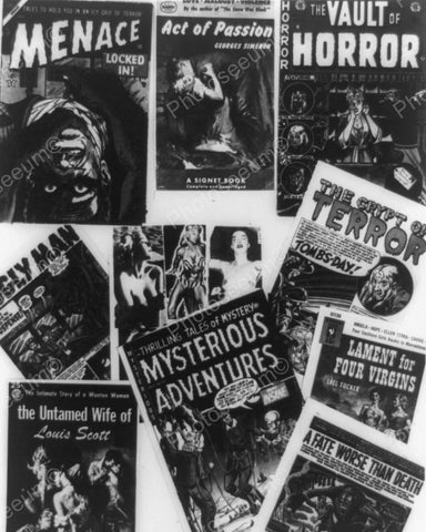 Horror Covers On Comic Books 1954 Vintage 8x10 Reprint Of Old Photo - Photoseeum