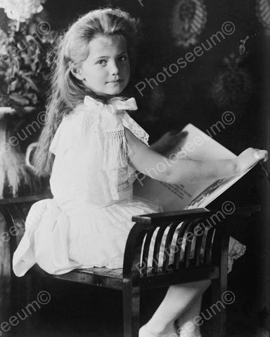 Beautiful Victorian Girl Reading a Book 8x10 Reprint Of Old Photo