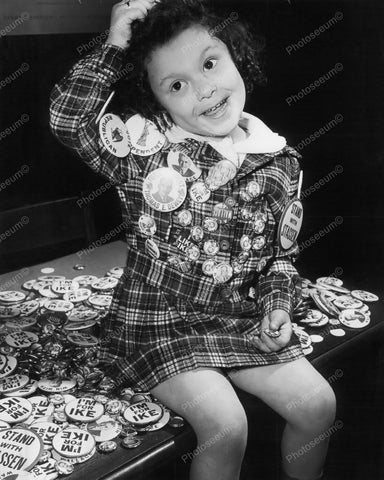 Girl Loaded With Political Badges Vintage 8x10 Reprint Of Old Photo
