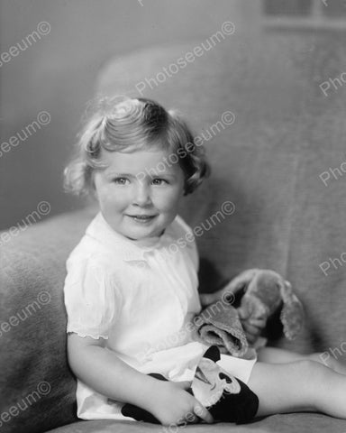Cute Girl With Stuffed Animals 1935 Vintage 8x10 Reprint Of Old Photo
