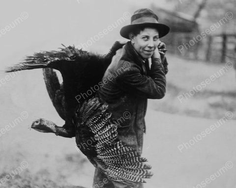 Carrying Home The Thanksgiving Turkey 8x10 Reprint Of Old Photo