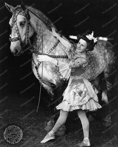 A Circus Girl & Horse Brockton Mass 1920 Vintage 8x10 Reprint Of Old Photo