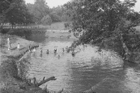 Children Line Up For Swimming Hole! 1900s 4x6 Reprint Of Old Photo