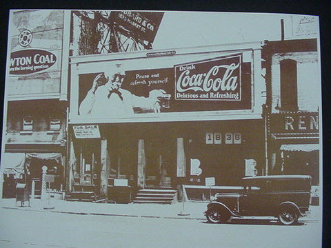 Coca Cola Barber Pole, Model T,Sepia Card Stock Photo 1940s - Photoseeum