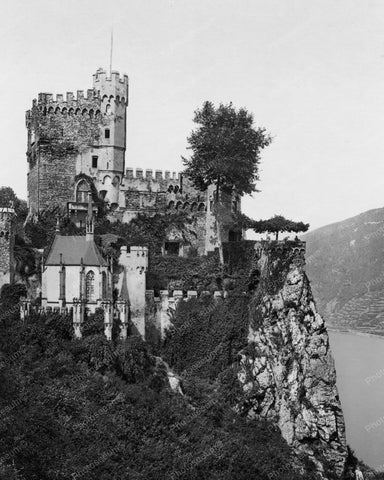 Castle Rheinstein On Rhine Germany Old 8x10 Reprint Of Photo