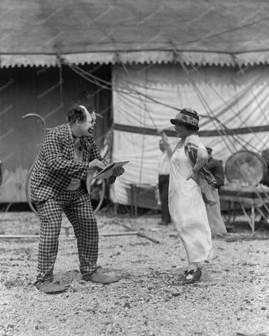 Boy & Girl Circus Clowns 1920s Vintage 8x10 Reprint Of Old Photo