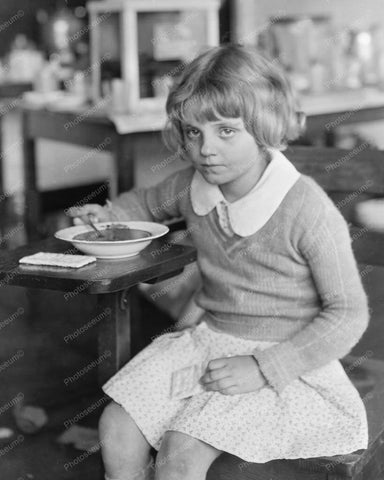 Young Girl Enjoys A Bowl Of Soup And Crackers Vintage 8x10 Reprint Of Old Photo
