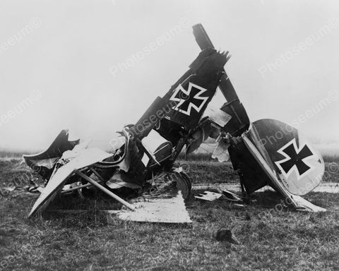 German Military Biplane Wreckage 1900s 8x10 Reprint Of Old Photo