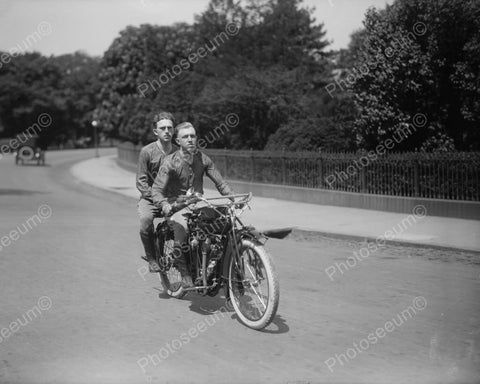 Young Men Ride Antique Motorcycle 1900s Old 8x10 Reprint Of Photo