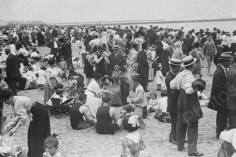 Coney Island Beach Day Gathering 4x6 Reprint Of 1920s Old Photo