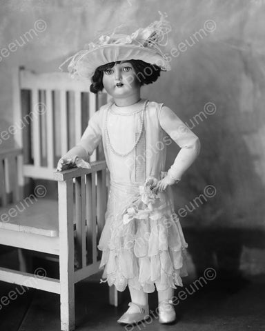 Antique Doll By Chair Vintage 8x10 Reprint Of Old Photo