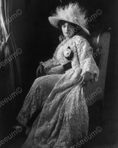 Victorian Woman Poses Dramatically With Hat Vintage 8x10 Reprint Of Old Photo