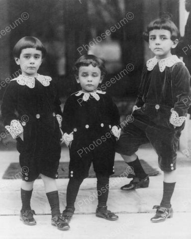 Adorable Boys Pose In Victorian Suits! Vintage 8x10 Reprint Of Old Photo