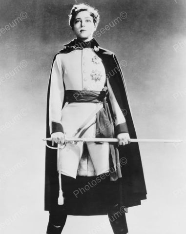 Military Costume With Cloak Vintage 8x10 Reprint Of Old Photo