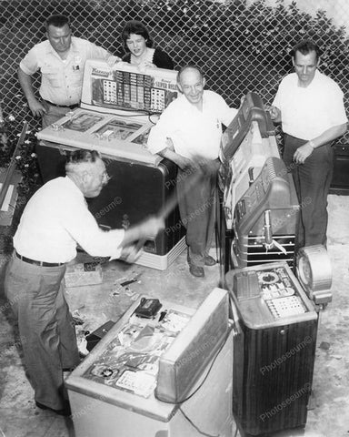 Confiscated Slot Machines Being Sledgehammered 8x10 Reprint Of Old Photo - Photoseeum