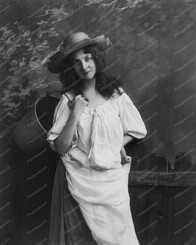 Woman Poses In Straw Hat With Pail 1900s 8x10 Reprint Of Old Photo