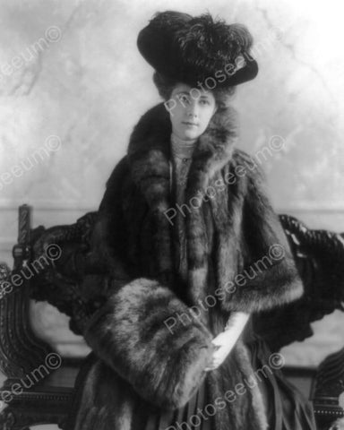 Lady In Feather Hat & Fur Coat 1800s 8x10 Reprint Of Old Photo