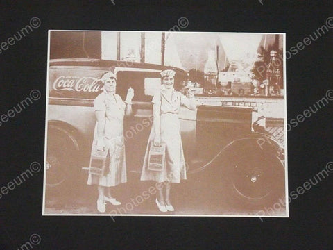 Coca Cola Truck 2 Ladies with Handy 6 Pack Vintage Sepia Card Stock Photo 1930s