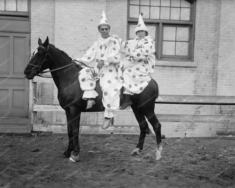 Clowns On Horse Circa 1910s 8x10 Reprint Of Old Photo